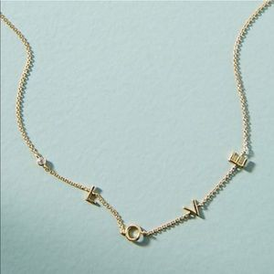 Anthropologie L O V E Crystal Accent Necklace NWT